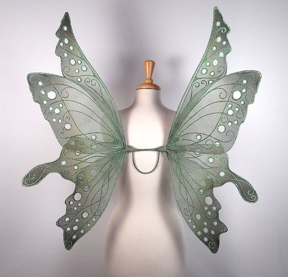 Fairy wings - Terrific for fairy costume, Halloween costume, fairy photography - Green fairy wings - Handmade - Custom - Ariel Design