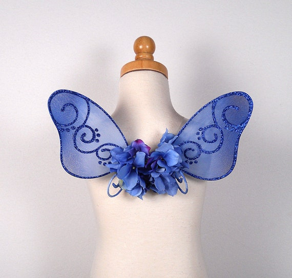 Toddler Fairy Wings - Terrific for fairy costume, wedding, flower girl, fairy photography - Blue fairy wings - Irene design