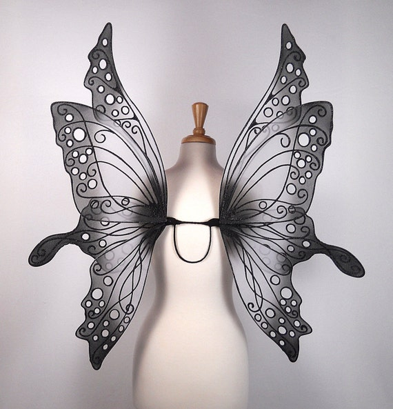 Fairy wings - Amazing for fairy costume, wedding, fairy photography - Black and white fairy wings - Ariel design