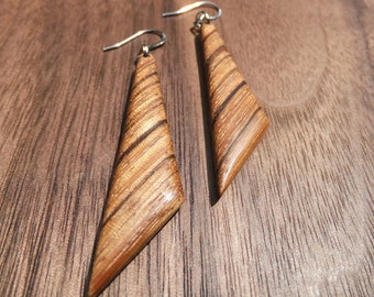 Zebrawood Triangle Earrings