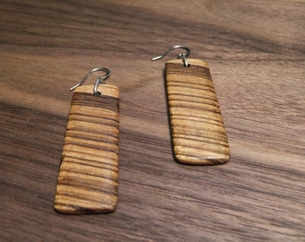 Zebrawood Rectangle Earrings