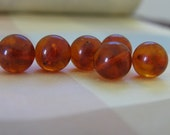 Baltic Amber beads. 13mm round beads. Natural Deep Honey amber. 6 beads.