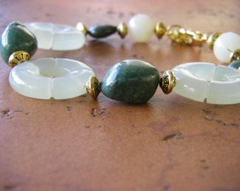 Jade, Malachite & Gold Bracelet