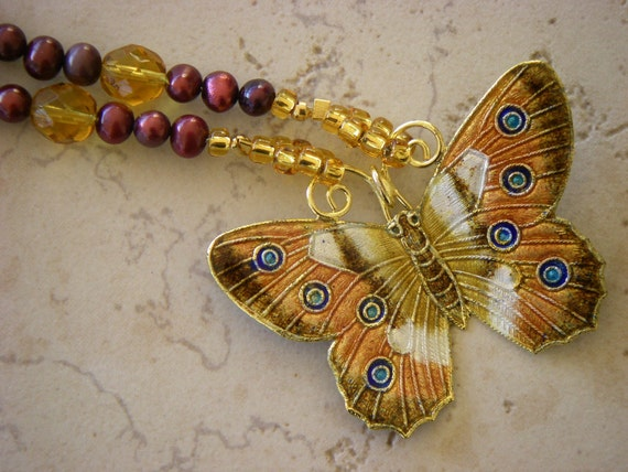 Cloisonne Butterfly Necklace