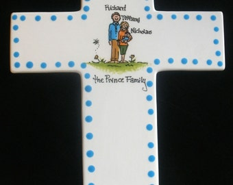 Hand Painted Family Ceramic Cross Plaque