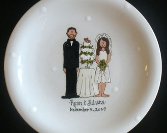 "Personalized 12"" Ceramic Wedding Plate - Bride and Groom and Wedding Cake"