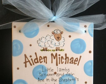 Ceramic Hand Painted Little Lamb Birth Announcement - Baptism - Child's Birthday Tile 8x8 with Ribbon