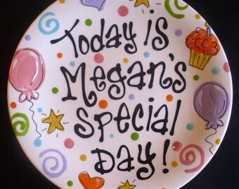 Multicolor Personalized 8 Inch Ceramic Special Day Plate or Birthday Plate