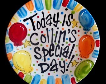 Brightly Painted Personalized 10 Inch Ceramic Special Day Plate or Birthday Plate