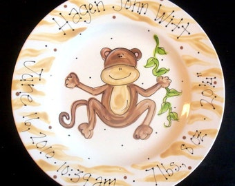 Hand Painted Monkey Birth Announcement Plate