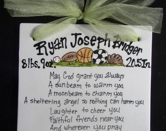 Sports themed Ceramic Hand Painted Birth Announcement - Baptism - Child's Sports Themed Birthday Tile 8x8 with Ribbon