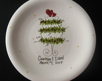 Hand Painted Ceramic Wedding Plate