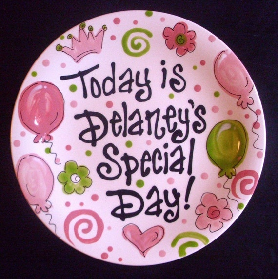 Birthday Plate - Pink and Green Personalized 8 Inch Ceramic Special Day Plate