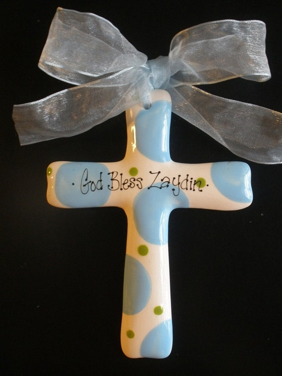 Blue and Green Baptism Cross - Children's Hand Painted Ceramic Cross - Great Baptism, Christening or Shower Gift
