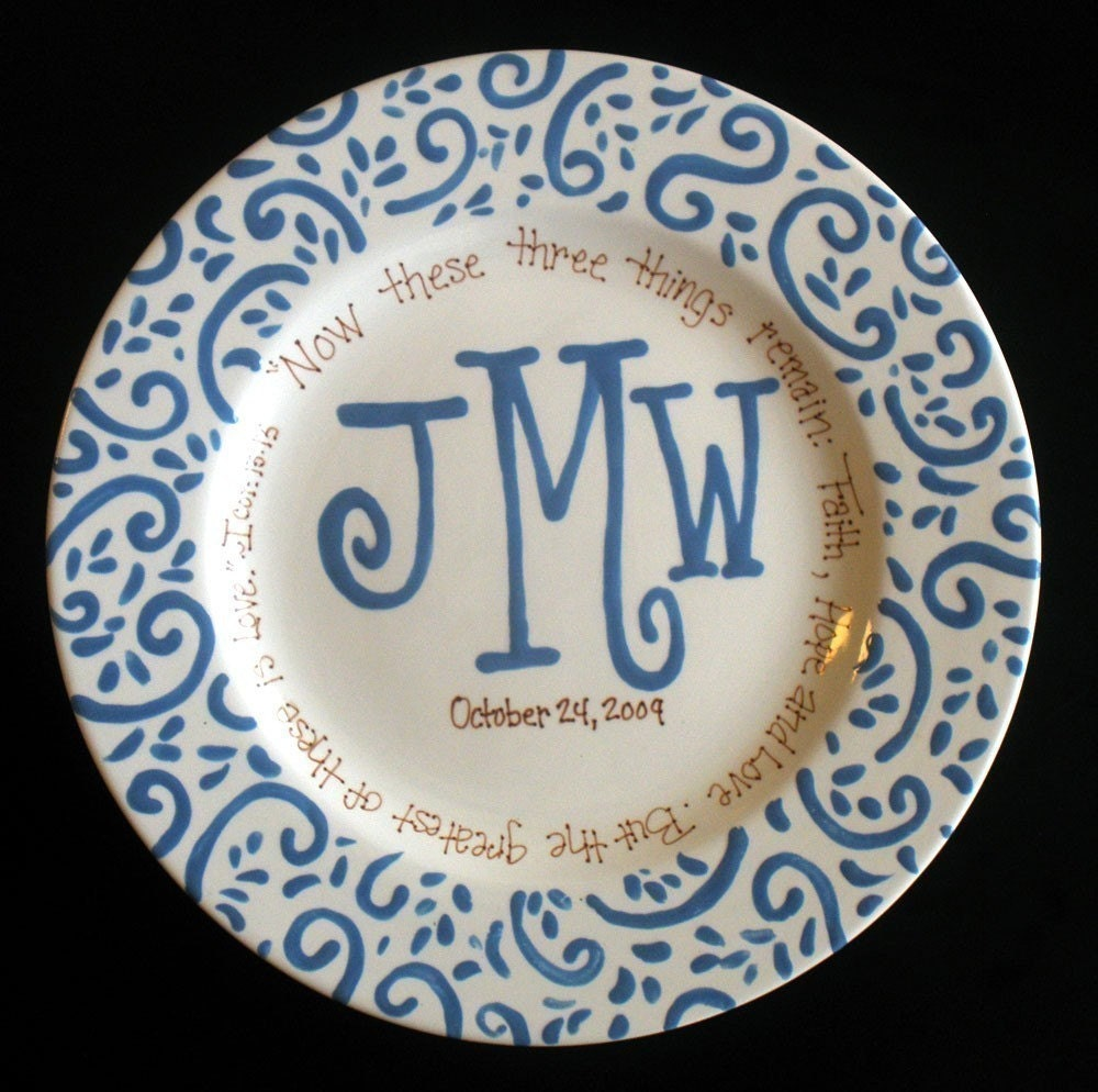 Monogramed Wedding Gifts: Handpainted Platter Monogrammed Plate Wedding Gift