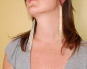 Long Gold Leather Earrings