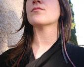 Deep Pink Sparkle\/ Black Leather Earrings