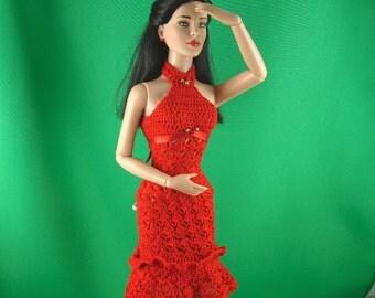 crocheted dress for 16 inch fashion dolls