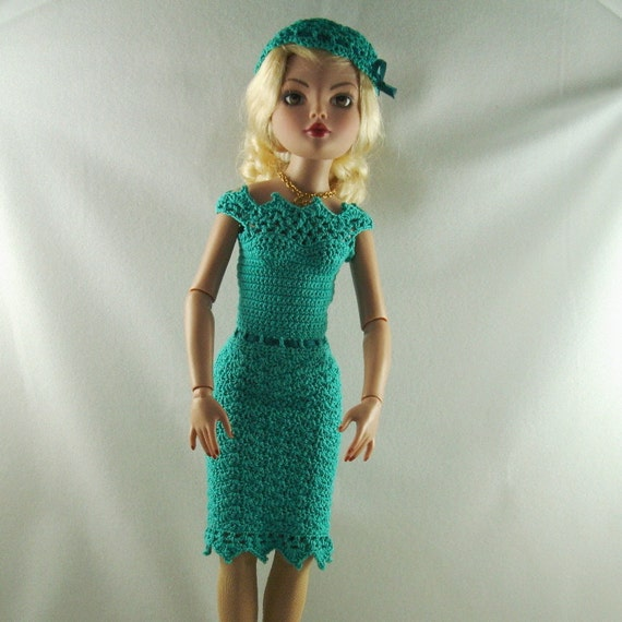 Crocheted party dress for 16 inch dolls