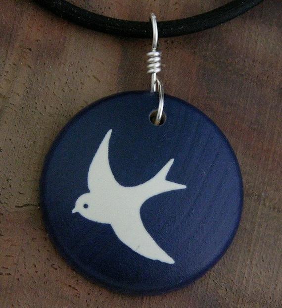 Maple Wood Pendant Bird Necklace Jet Stream FREE SHIPPING