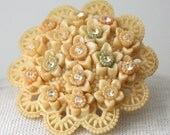 OCCUPIED JAPAN: Celluloid Floral Pin with Rhinestones and Lovely Pale Colors