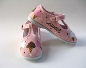 Ice Cream Cone Shoes, Girl's Hand Painted  T Straps, Pink Cotton Canvas, for Baby or Toddler