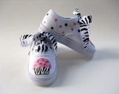 Girl's Zebra Cupcake Shoes, Hand Painted Animal Print Sneakers, Birthday Party,  For Baby and Toddlers