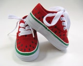 Girls Watermelon Shoes, Hand Painted Red Canvas Kids Sneakers, For Baby and Toddlers