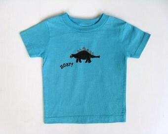 Boys Dinosaur Shirt, Dinosaur Theme Party, Dinosaur Outfit, Birthday Shirt, Short Sleeve Cotton Tshirt, Hand Painted for Baby or Toddler