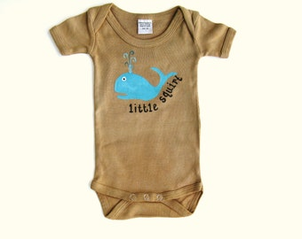 Baby Boys Whale Bodysuit, Little Squirt, Ocean or Nautical Theme Party, Blue Whale Tshirt, Hand Painted Infant One Piece or Romper