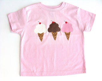 Ice Cream T Shirt, Ice Cream Theme, Birthday Party Shirt, Ice Cream Outfit, Pink Shirt, Hand Painted,  Pink Tee or Top, Baby and Toddler