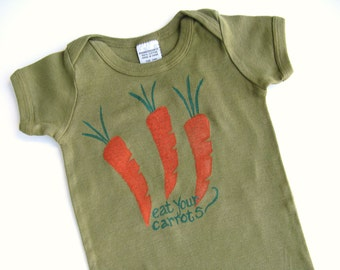 Carrot One Piece, Hand Dyed, Hand Painted, Carrot Snap Crotch Outfit, Vegetable Bodysuit, Garden Party Baby Tshirt, Boys or Girls