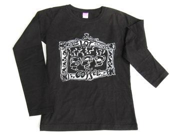 Womens Hot Coffee T-Shirt, Caffeine Tee, Plus Sizes, Silk Screened Print, Black Cotton Long Sleeve Top