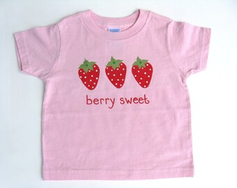Strawberry T Shirt, Strawberry Outfit, Strawberry Birthday Party, Berry Patch, Hand Painted, Pink Cotton Tee or Top, Baby and Toddlers