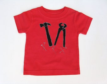 Tools TShirt, Builder Birthday Party, Tools Theme, Tool Outfit, Hammer and Nails Shirt, Hand Painted, Tee or Top, Baby and Toddlers