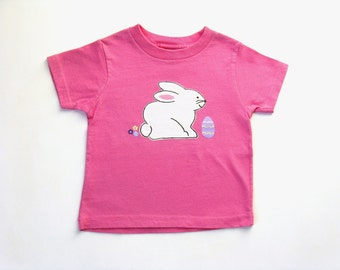 Girls Rabbit T Shirt, Easter Bunny, Kid's Hand Painted Tee or Top, Baby and Toddler