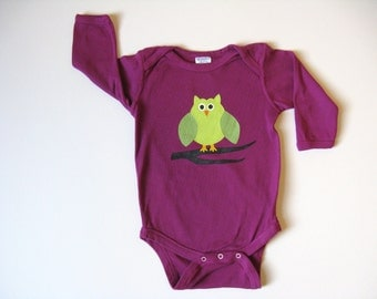Girls Owl Bodysuit, Hand Dyed and Painted, Owl Theme Shower, Owl Outfit, Birthday Shirt, Baby Snap Crotch Tshirt, One Piece or Romper