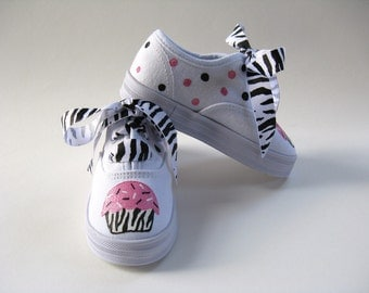 Girl's Zebra Cupcake Shoes, Hand Painted Animal Print Sneakers, Pink and Black Birthday Party Outfit  For Baby and Toddlers