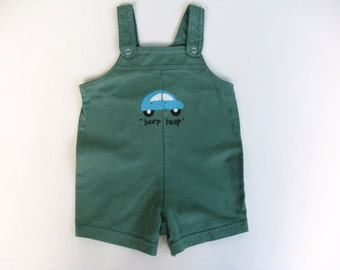 Boy's Car Outfit, Sleeveless Romper or One Piece, Car Theme Birthday Party, Hand Painted and Hand Dyed Green