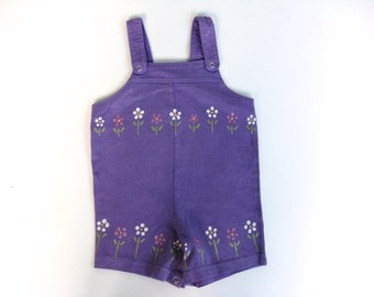 Girls Flower Romper, Flower One Piece, Flower Outfit, Flower Theme, Pink and Purple Outfit, Baby and Toddler, Hand Dyed, Hand Painted