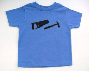 Boys Tools TShirt, Hammer and Saw, Tools Theme Outfit, Handyman Shirt, Tools Birthday Shirt, , Hand Painted, Tee or Top, Baby or Toddler