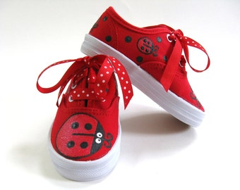 Girls Ladybug Shoes, Hand Painted Red Canvas Sneakers, Ladybird Birthday Party, Baby and Toddler