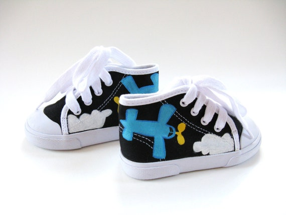 Boys Airplane Shoes, Black Hi Top Sneakers,  Pilot Theme Birthday Party, Hand Painted for Toddlers