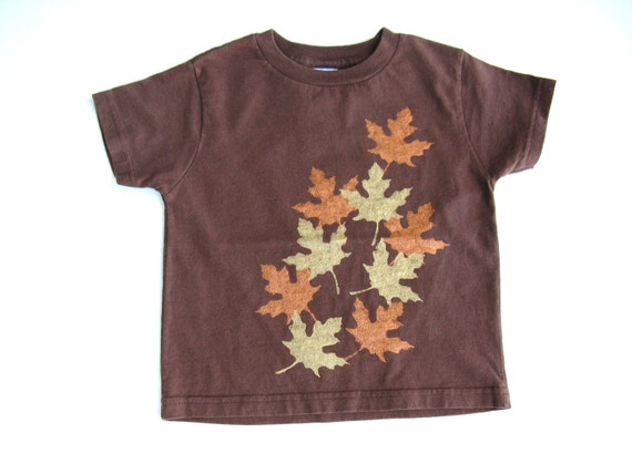 Girls Metallic Leaves T Shirt, Gold And Copper Leaves, Fall or Autumn Shirt, Thanksgiving Outfit, Cotton Tee or Top for Baby and Toddlers