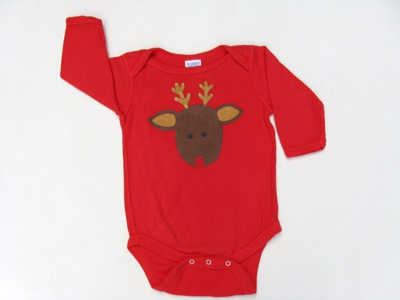 Reindeer One Piece, Christmas Outfit, Reindeer Romper, Reindeer Bodysuit, 1st Chrismas Outfit, Reindeer Top, Hand Painted, Baby and Toddler