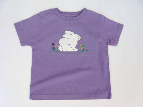 Girls Easter TShirt, Bunny Rabbit Tee or Top, Easter Outfit, Spring Shirt, Rabbit Shirt, Short Sleeves, Hand Painted, Baby and Toddler
