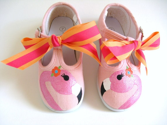 Flamingo Shoes, Pink T Straps, Flamingo Theme, Birthday Party, Flamingo Outfit, Bird Shoes, Vacation Shoe, Hand Painted for Baby or Toddler