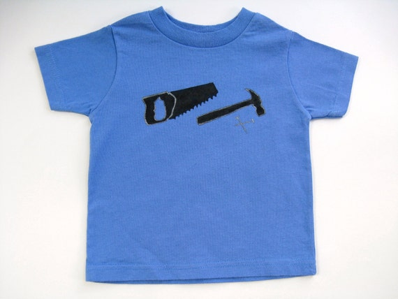 Tools T Shirt, Hammer and Saw, Handyman Shirt, Birthday Party, Hand Painted Tee or Top for Babies and Toddlers