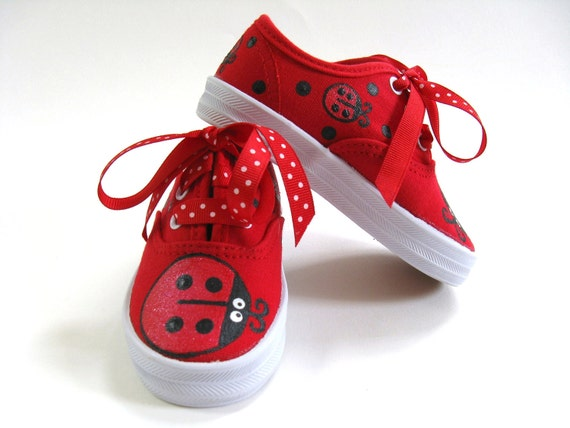 Ladybug Shoes, Ladybug Outfit, Ladybug Theme, Party Shoes, Hand Painted Red Canvas Sneakers, Ladybird Birthday Party, Baby and Toddler