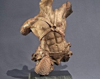 Architecture, nude brick male ceramic figure sculpture, Roman Fragment